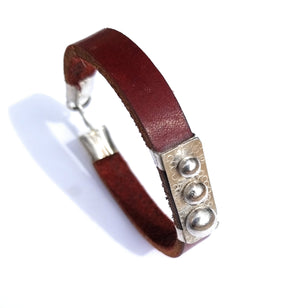 silver accent leather bracelet