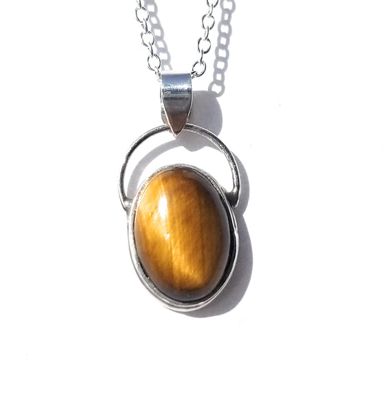 Tiger's eye natural stone sterling silver pendant