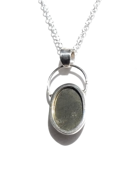 Pyrite natural stone sterling silver pendant
