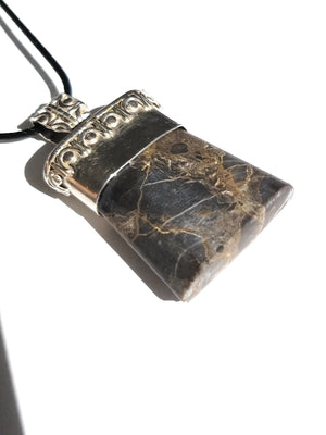 Jasper Silver Pendant Necklace