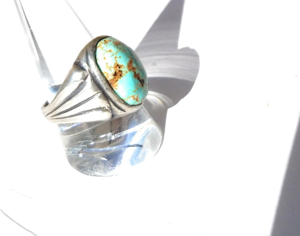 Turquoise vintage look sterling silver ring