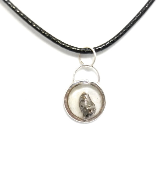 Meteorite in Resin Sterling Silver Pendant Necklace