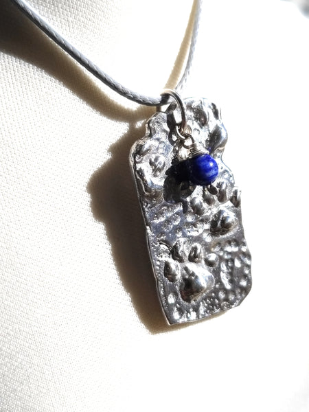 Paw Animal Foot Print Pendant Necklace with Lapis Lazuli