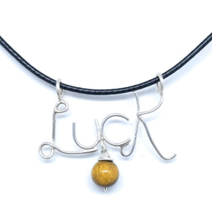 Luck Pendant with Tiger Eye natural stone charm pendant necklace