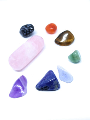 7 Chakra Crystals with Rose Quartz Wand