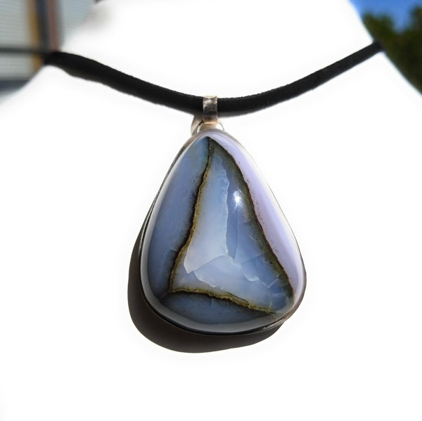 Agate  Natural Stone Sterling Silver Pendant