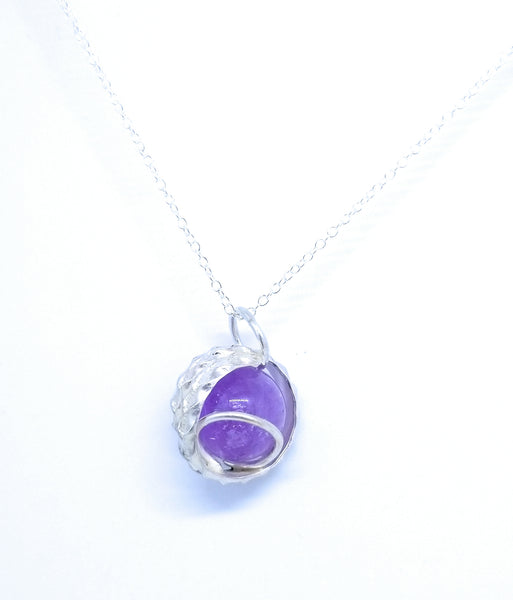 Amethyst Sphere Ball Natural Stone Sterling Silver Pendant