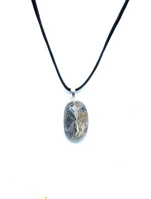 Black Swirl Agate Nevada Sterling Silver Pendant Necklace