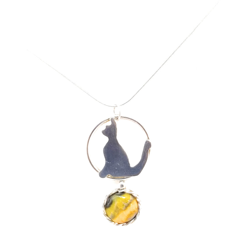 Bumblebee Jasper with Cat Silhouette Pendant