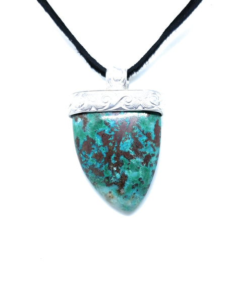 Chrysocolla Sterling Silver Pendant