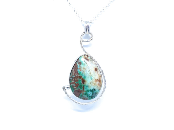 Chrysocolla Natural Stone Sterling Silver Pendant