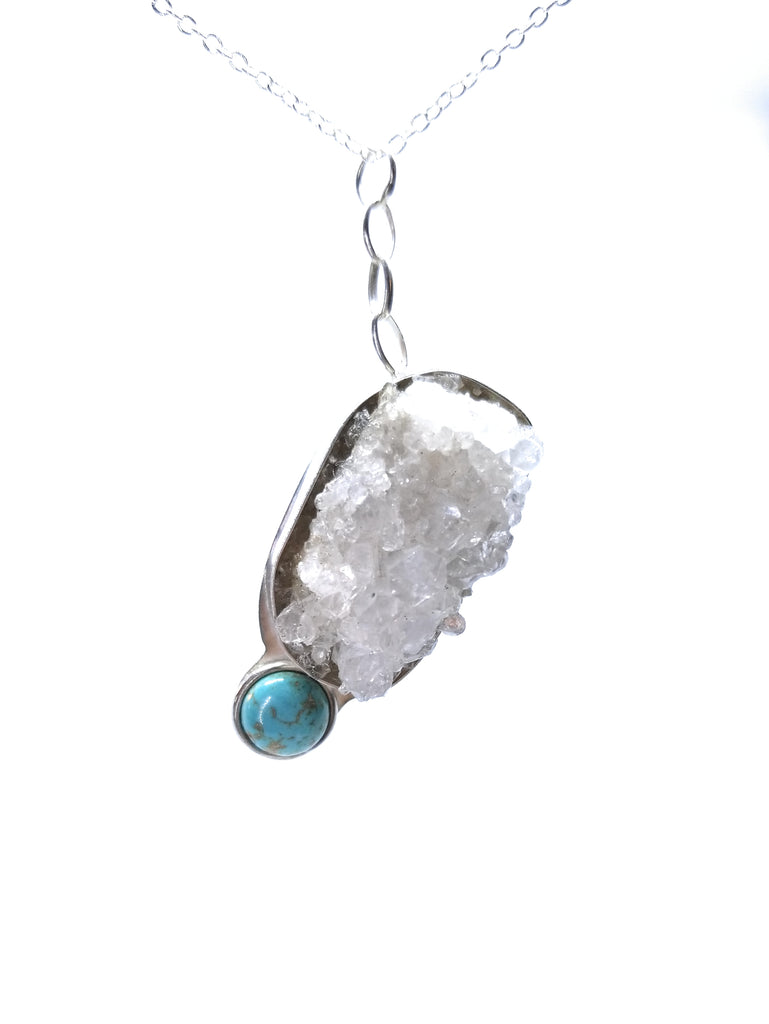 Crystal Quartz Cluster with Turquoise Sterling Silver Pendant