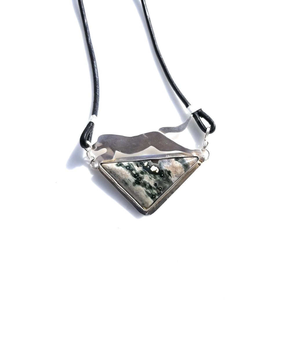 Grayhound dog with Orbicular Ocean Jasper silver pendant necklace