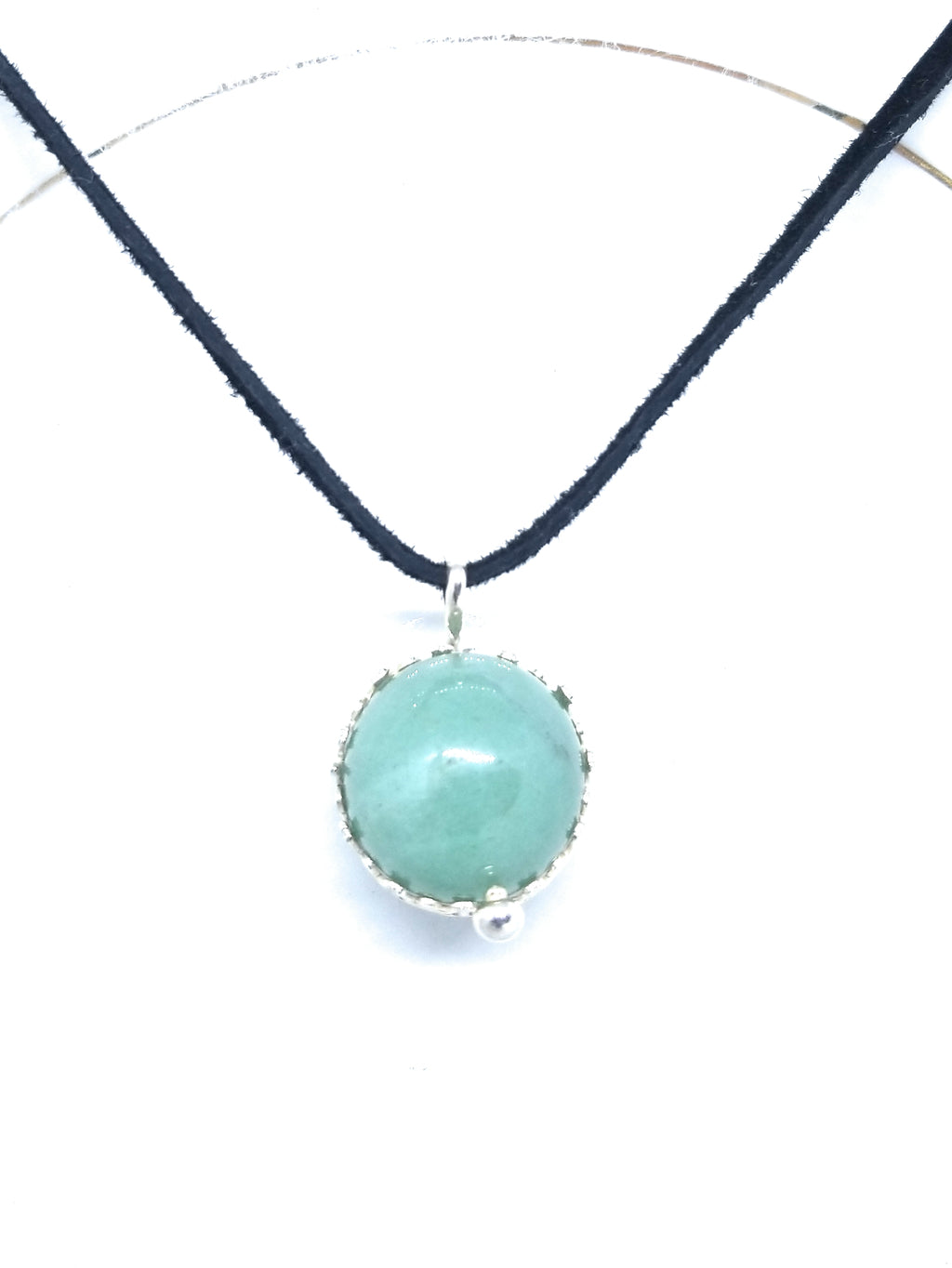 Green Aventurine Sphere Sterling Silver Pendant Necklace