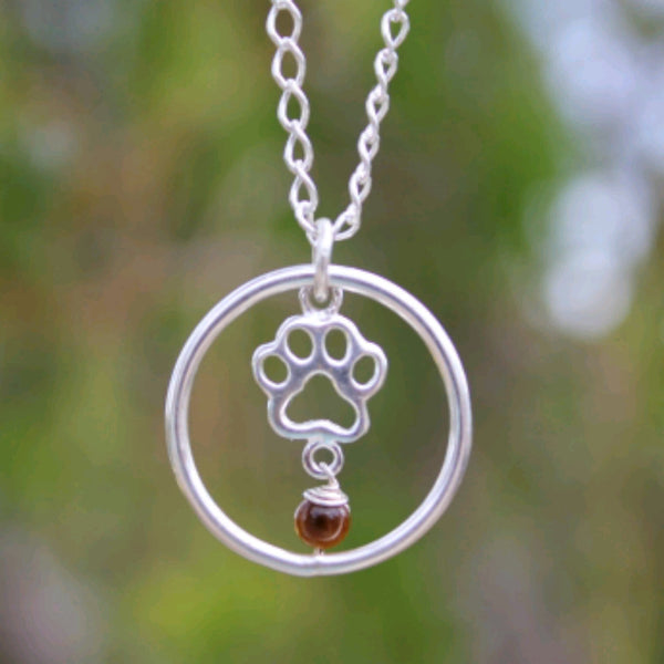 Animal lover paw pendant with Tiger's Eye