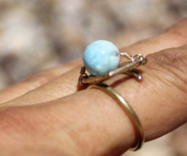 Larimar 14K GF Ring Adjustable