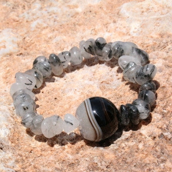 Spiritual Bead Bracelet Tourmaline in quartz bead Prayers Bracelet