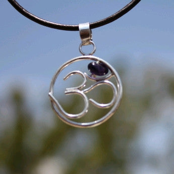 OM symbol with Amethyst Silver Pendant Leather Cord Necklace