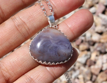 Purple Agate Chalcedony Pendant Necklace
