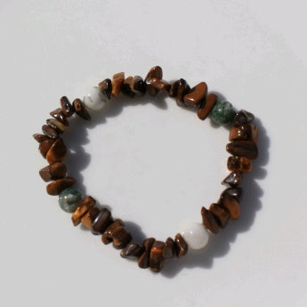 Spiritual Prayers Bracelet with Tiger's Eye & Tree Agate