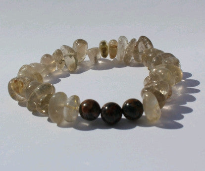 Spiritual Prayers  bracelet with Golden rutilated quartz & Petersite