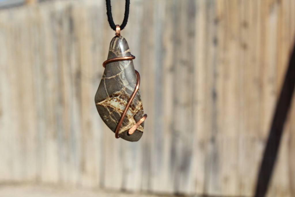 Septarian Dragon natural Stone Copper Wire Wrapping pendant Necklace ...