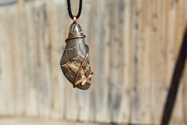 Septarian Dragon natural Stone Copper Wire Wrapping pendant Necklace