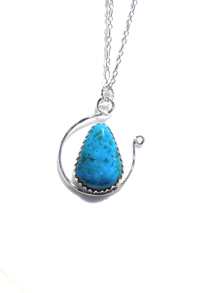 Kingman Turquoise Sterling Silver Pedant Necklace