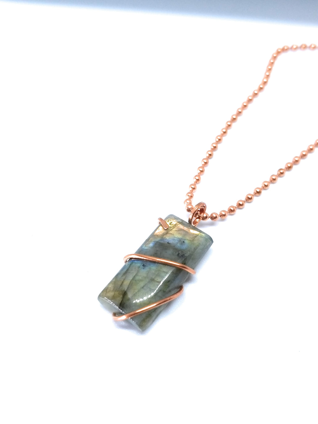 Labradorite Natural stone copper wire wrapping pendant necklace