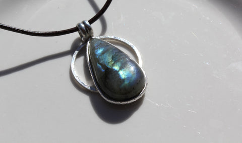 Labradorite Pear Shaped Sterling Silver Pendant