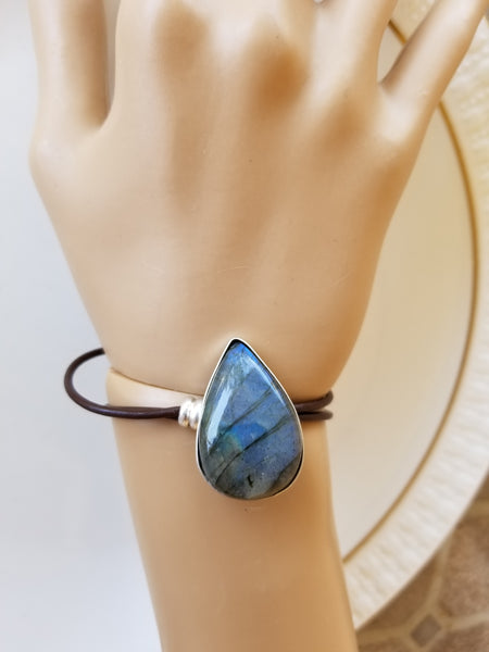 Labradorite Sterling Silver Leather Bracelet