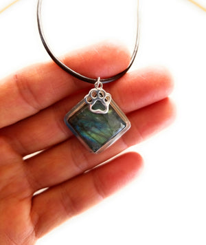 Labradorite with animal paw charm Pendant Necklace
