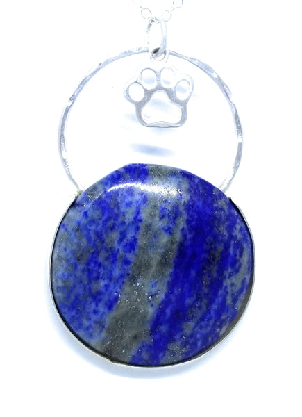 Lapis Lazuli with Paw Starling Silver Pendant