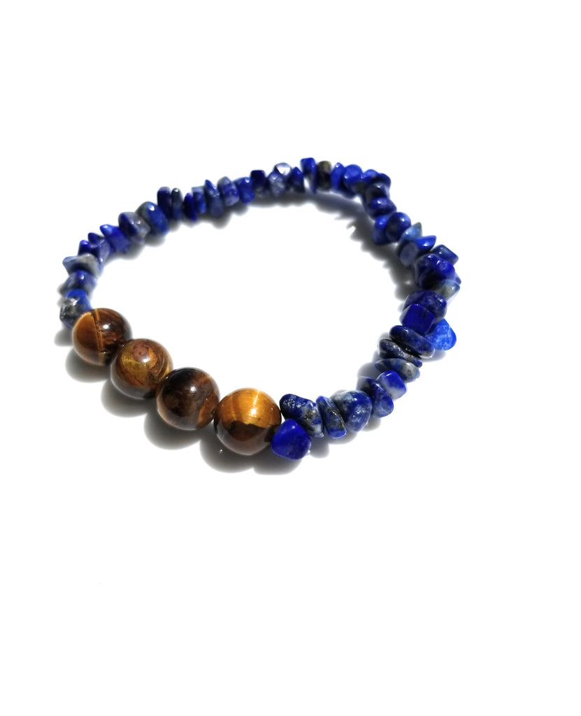 Spiritual Lapis Lazuli Natural stone with Tiger's Eye Bead Bracelet