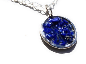 Lapis Lazuli Natural stone inlay Hammered  Sterling Silver Open Circle Pendant Necklace