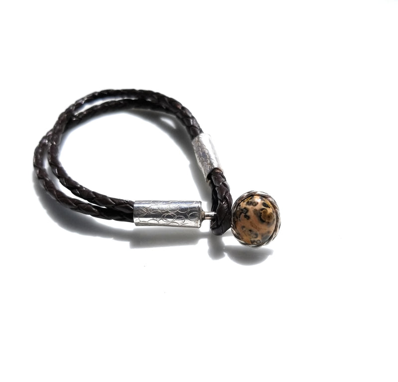 Leopard Jasper Braided Leather Bracelet