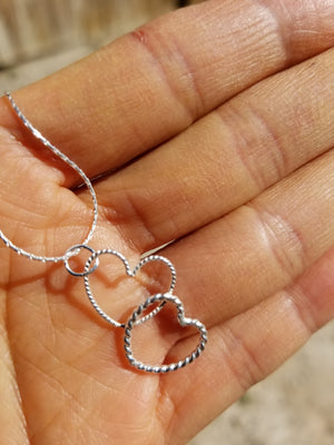 Love Pendant Double Love Heart shape Sterling Silver Pendant Necklace