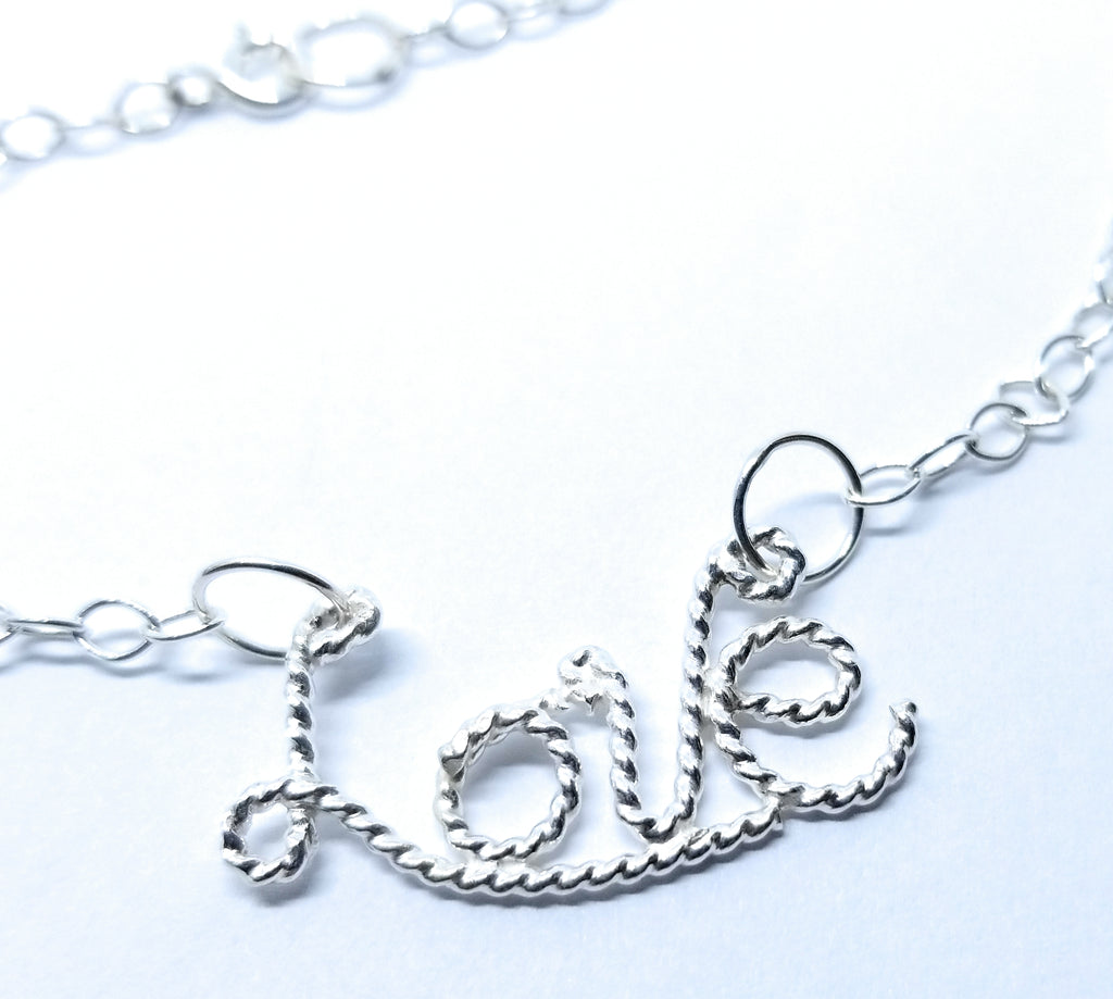 Love Pendant Necklace Sterling Silver