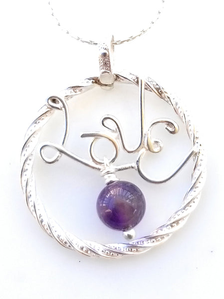 Love Monogrammed letter with Amethyst charm silver pendant necklace