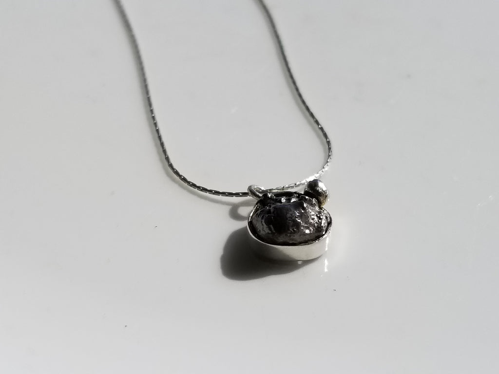 Meteorite Stering Silver Pendant Necklace