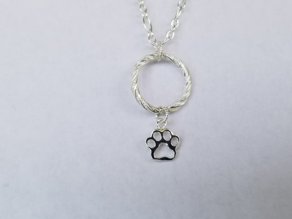 Paw Charm Open Circle Sterling Silver Pendant Necklace