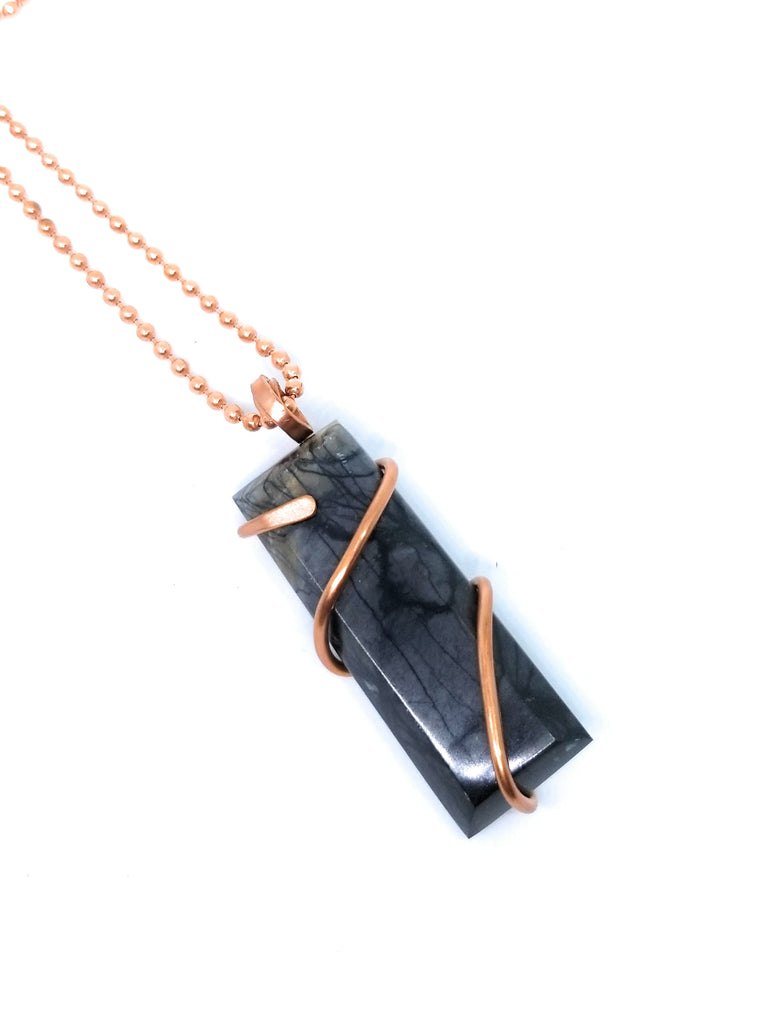 Picasso Jasper Natural Stone  Copper Pendant  Necklace