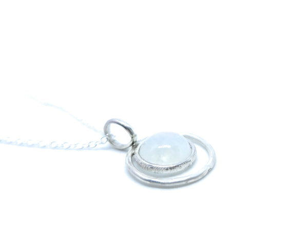 Rainbow Moonstone Sterling Silver Pendant