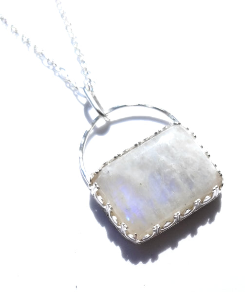 Rainbow moonstone Sterling Silver Pendant Necklcae