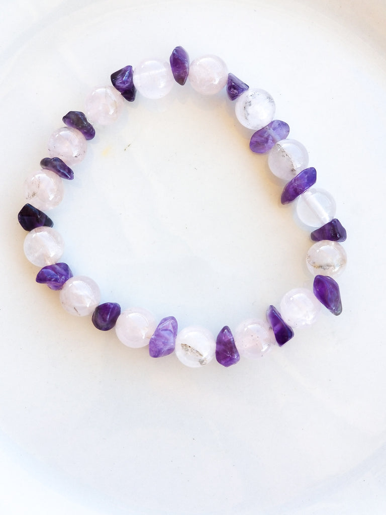 Rose Quartz Bead &  Amethyst Crystal Chip Bead Chip Bracelet