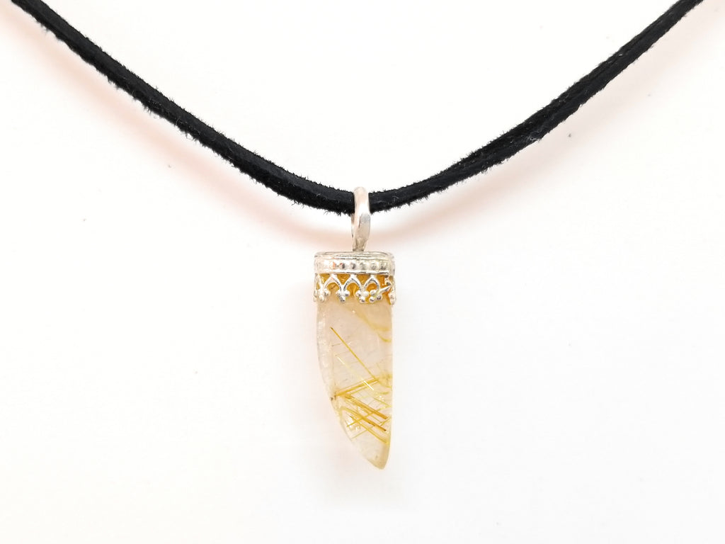 Golden Rutilated Quartz Crystal Pendant Necklace