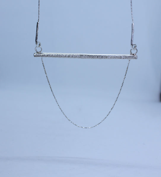 Bar and Chain Necklace Sterling Silver
