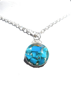 Turquoise Chip Resin Sterling Silver Pendant Necklace