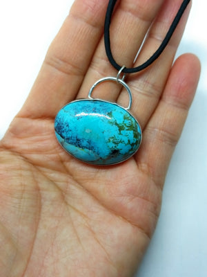 Kingman AZ Turquoise Sterling Silver Pendant Necklace