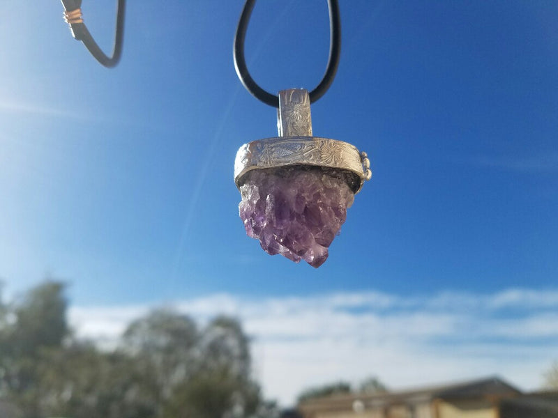 Amethyst Crystal Cluster Pendant